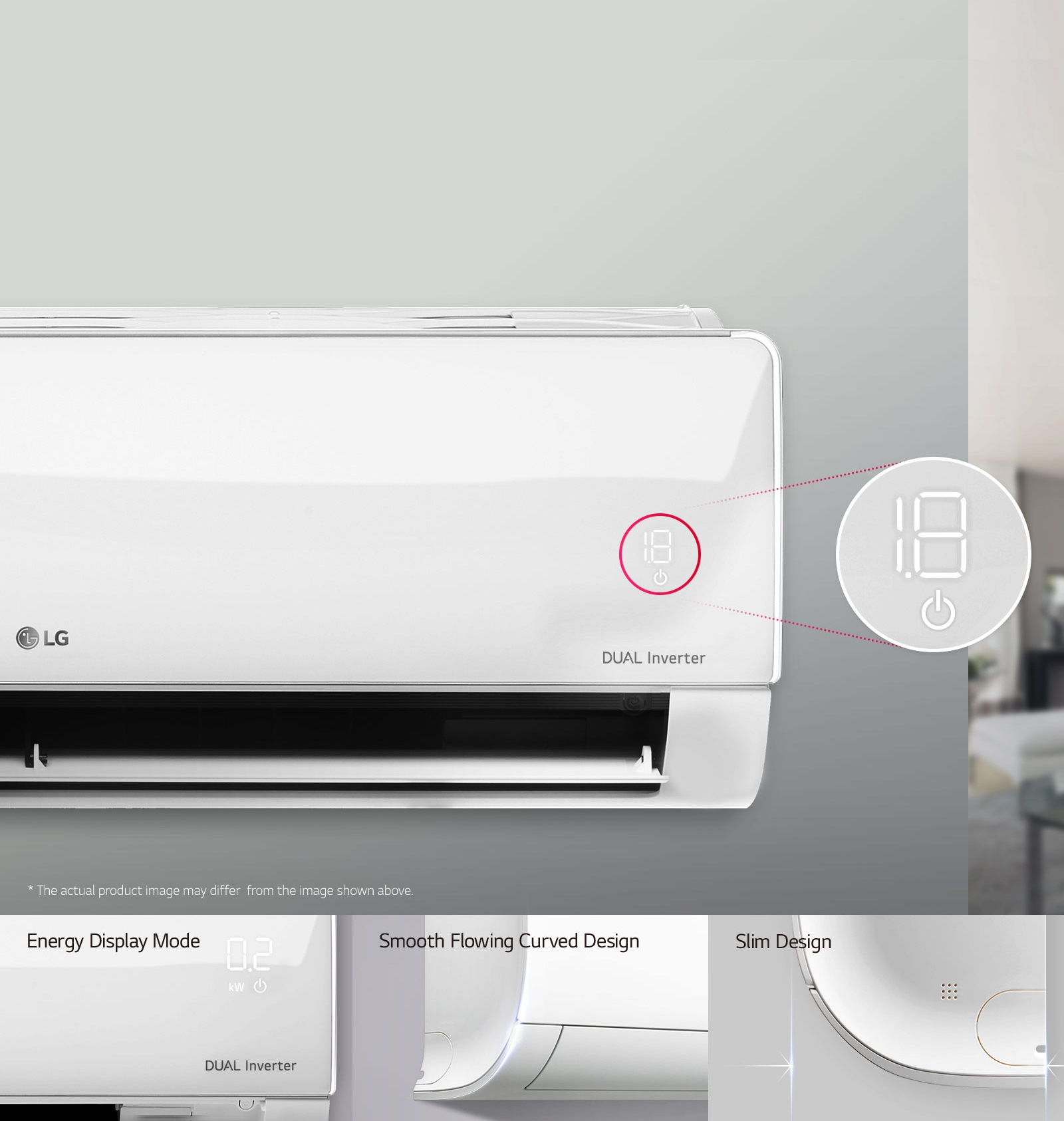 Simple and Modern Design with Hidden display. LG air conditioner's ...