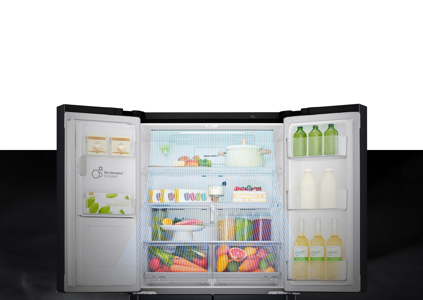 lg french door fridge helps maintain temperature to keep your food items fresh.