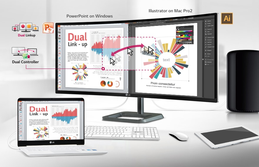 TWO DIFFERENT DEVICES CAN NO LONGER FORCE YOU TO USE TWO SEPARATE MONITORS. SUBDUE THEM UNDER DUAL LINK UP & DUAL CONTROLLER.