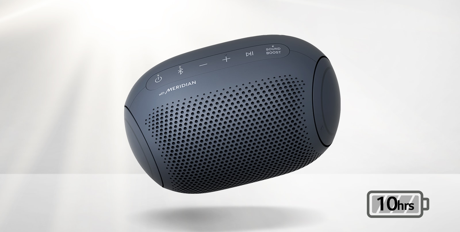 LG XBOOM Go tilts to the left and floats in the air.