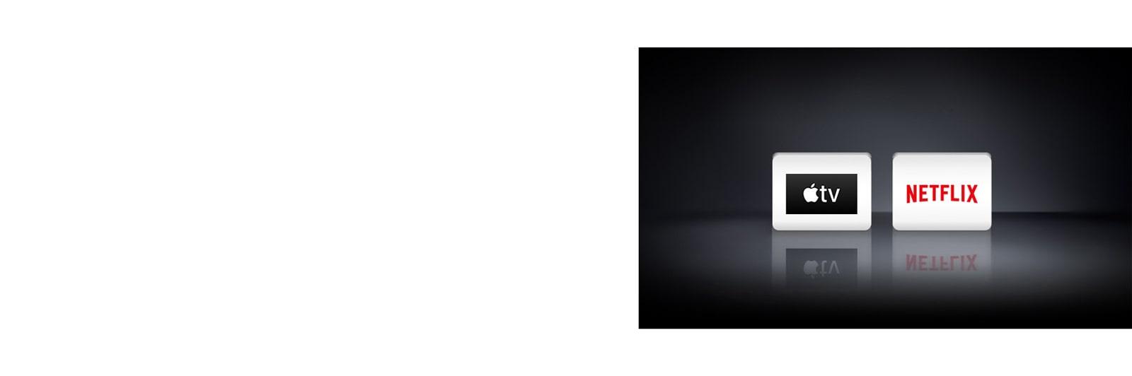 شعارات التطبيقات الأربعة من اليسار إلى اليمين: تطبيق Apple TV، ديزني+، نتفليكس، قنوات إل جي