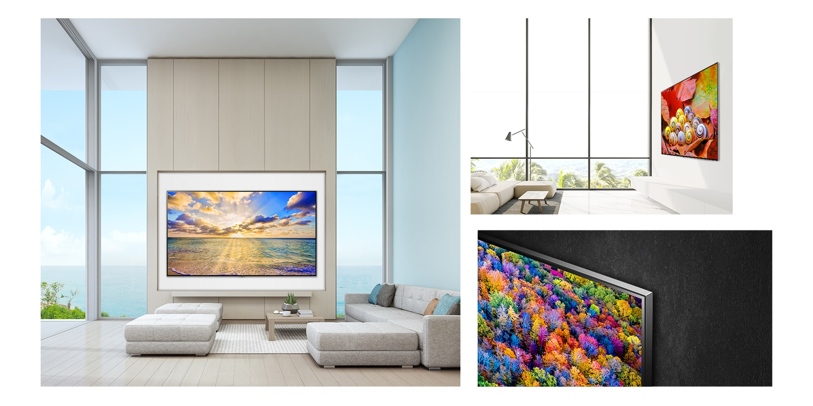 Three scenes of the LG NanoCell TV hung beautifully in a home showing the slim, wall mounted design.