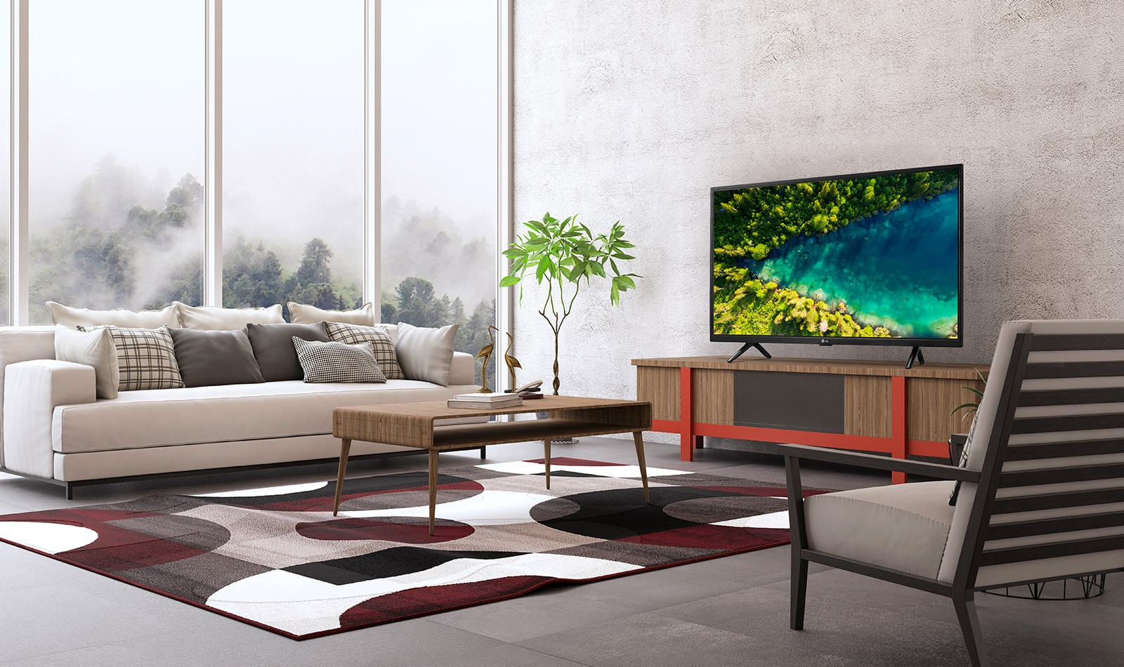 A TV that shows a river flowing in the dense forest of Top View from a modern and simple house setting.