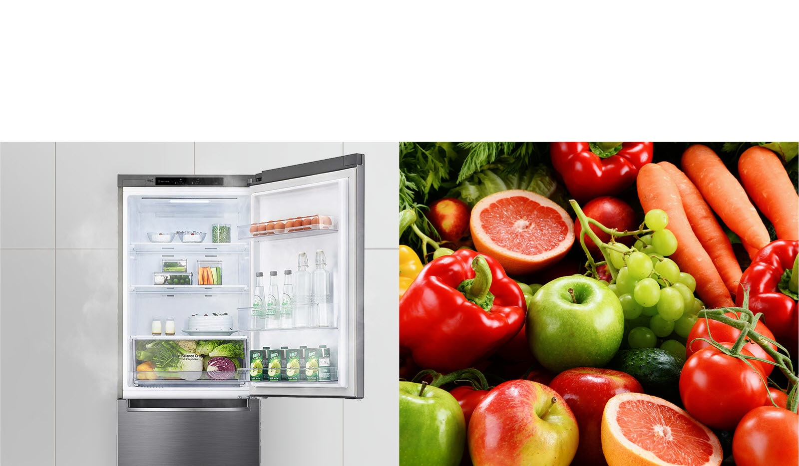 The first image shows the refrigerator with the top door open and filled with drinks and produce. The second image shows bright and vivid fruits and vegetables in a group.