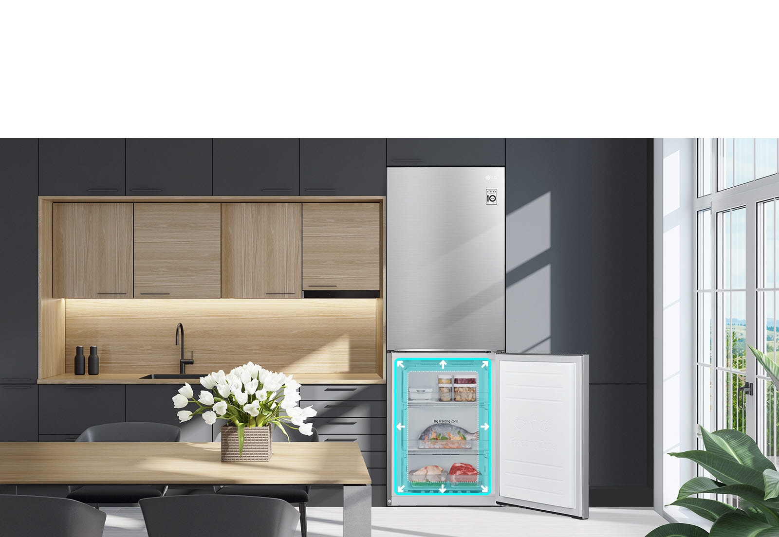 A refrigerator is shown blending with the shelving in the kitchen. The bottom half of the refrigerator is open and filled with produce. A neon square with arrows is shown around the edge of the refrigerator space to show there is more space inside.