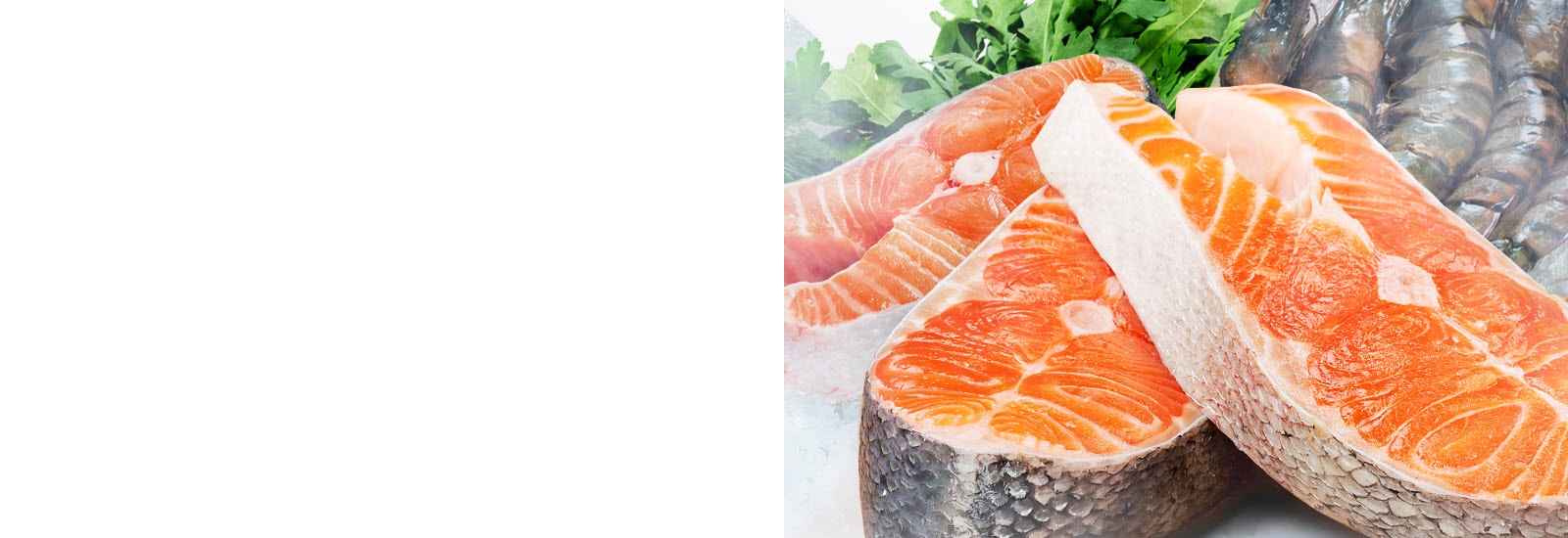 Salmon and shrimp are shown thawed and ready to cook.
