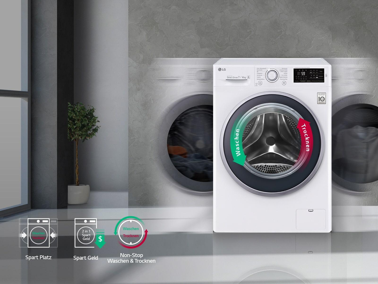 lg waschtrockner mit 6 motion direct drive technologie 7. Black Bedroom Furniture Sets. Home Design Ideas