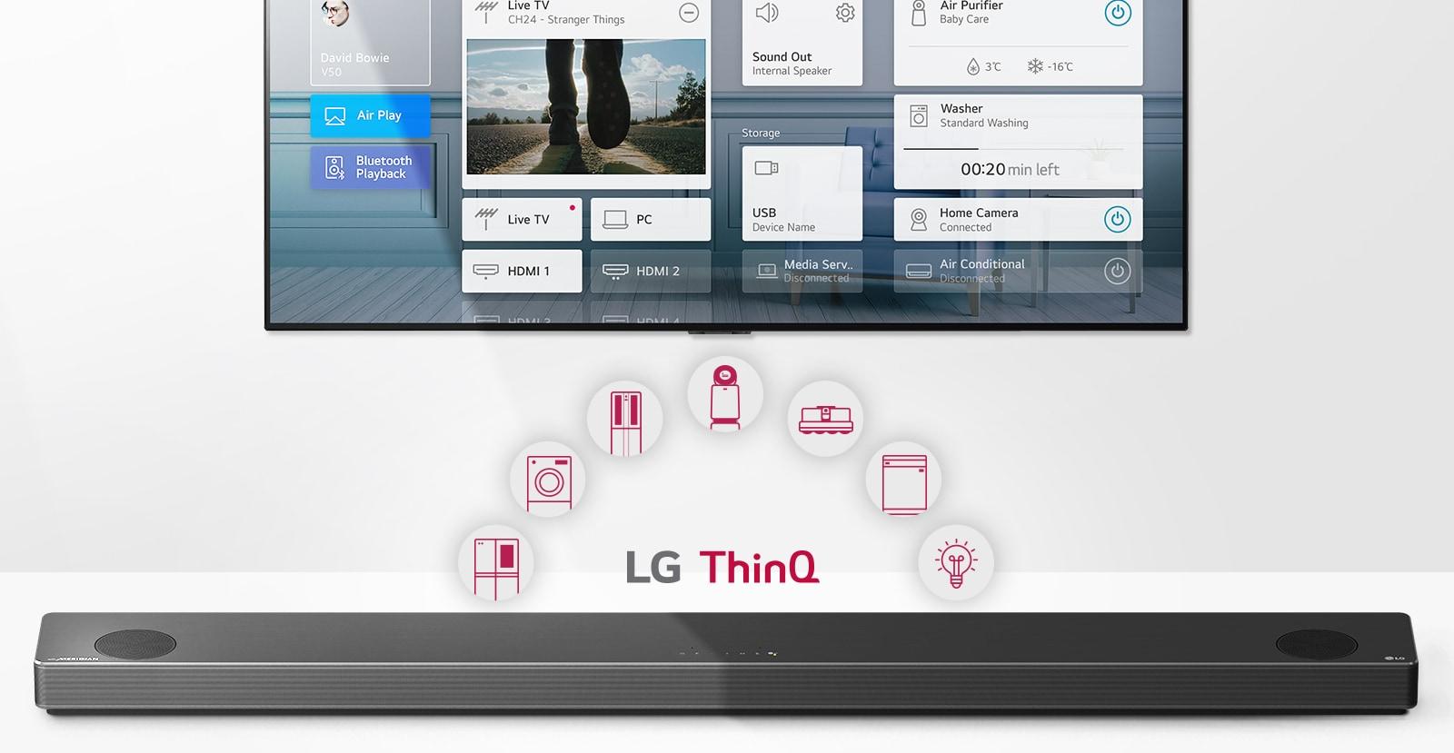 An der Wand hängender Fernseher. Die LG Sound Bar befindet sich unter dem Fernseher. Das LG-ThinQ-Logo und die Gerätesymbole werden zwischen dem Fernseher und der LG Sound Bar dargestellt.