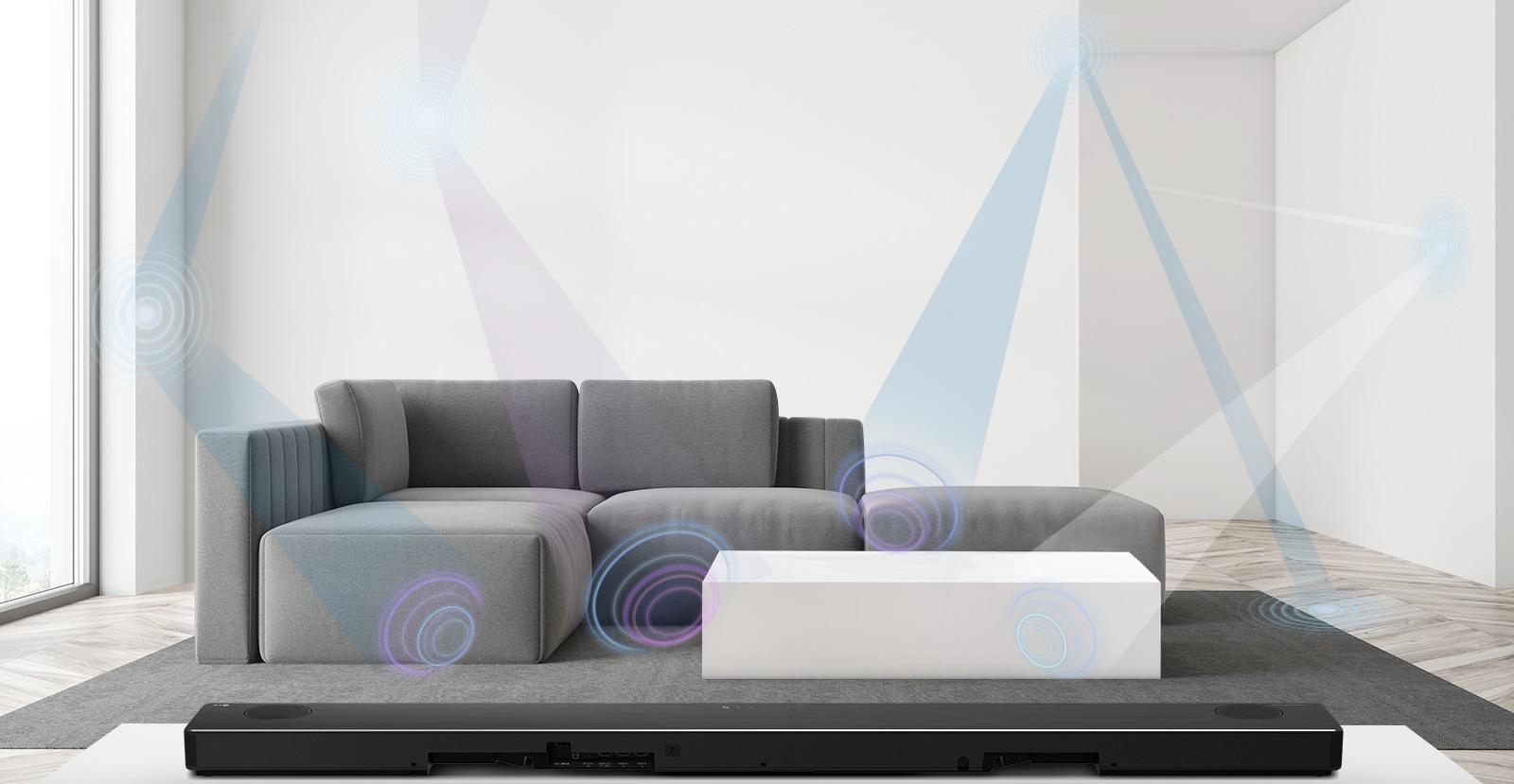 Rückseite der LG Sound Bar in einem Wohnzimmer mit grauem Sofa. AI Room Calibration berechnet die Umgebung, was grafisch dargestellt ist.