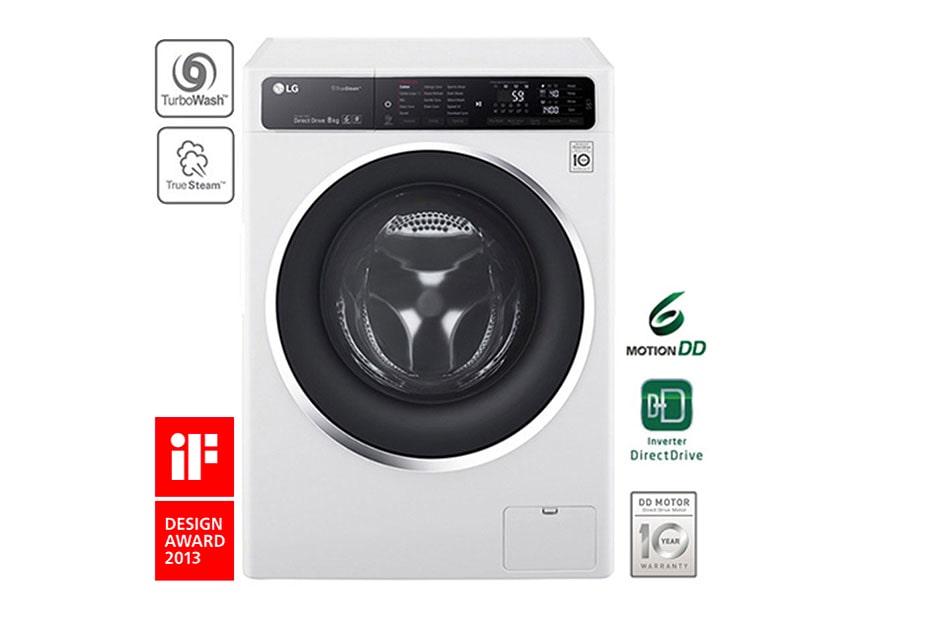 lg waschmaschine mit 6 motion direct drive 8 kg fassungsverm gen turbowash und true steam. Black Bedroom Furniture Sets. Home Design Ideas