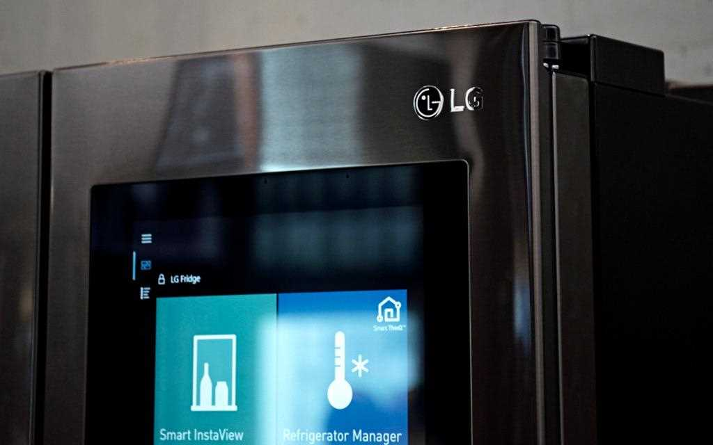 A close up photography of lg instaview door-in-door at iot zone at berlin ifa 2017.