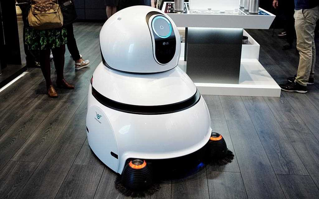 "A photo of lg smart hub robot ""Air Star"" from lg iot zone presentation at berlin ifa 2017."