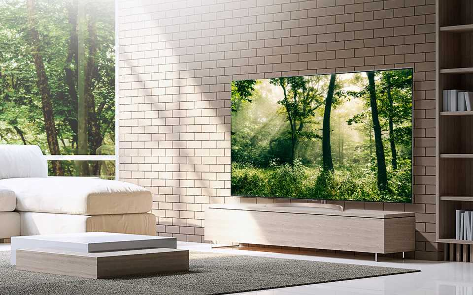 An image of a modern living room with beautifully displayed lg super uhd tv in the corner.