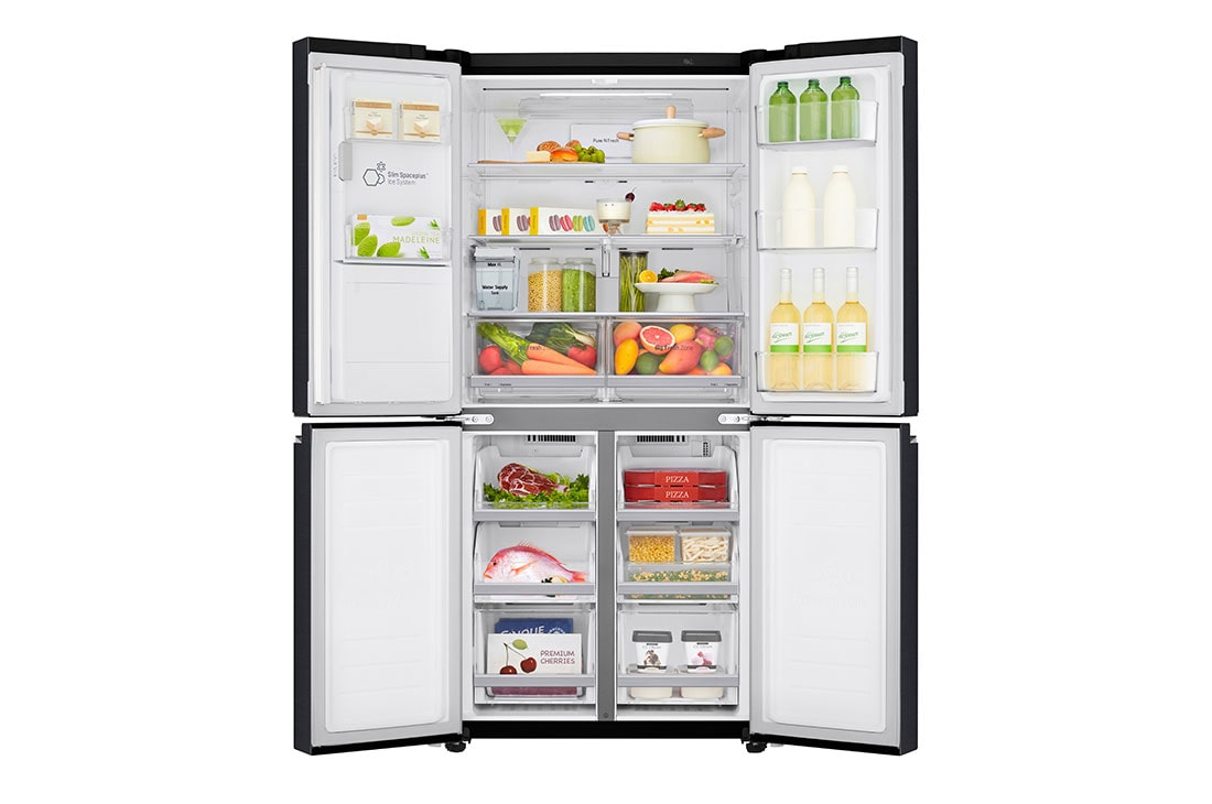 LG 570L Slim French Door Fridge with Non-Plumbed Ice & Water Dispenser in Matte Black Finish, GF-L570MBNL-Front open food, GF-L570MBNL