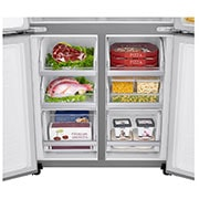 LG 570L Slim French Door Fridge with Non-Plumbed Ice & Water Dispenser in Stainless Finish, BottomCloseUp Food view, GF-L570PNL, thumbnail 4