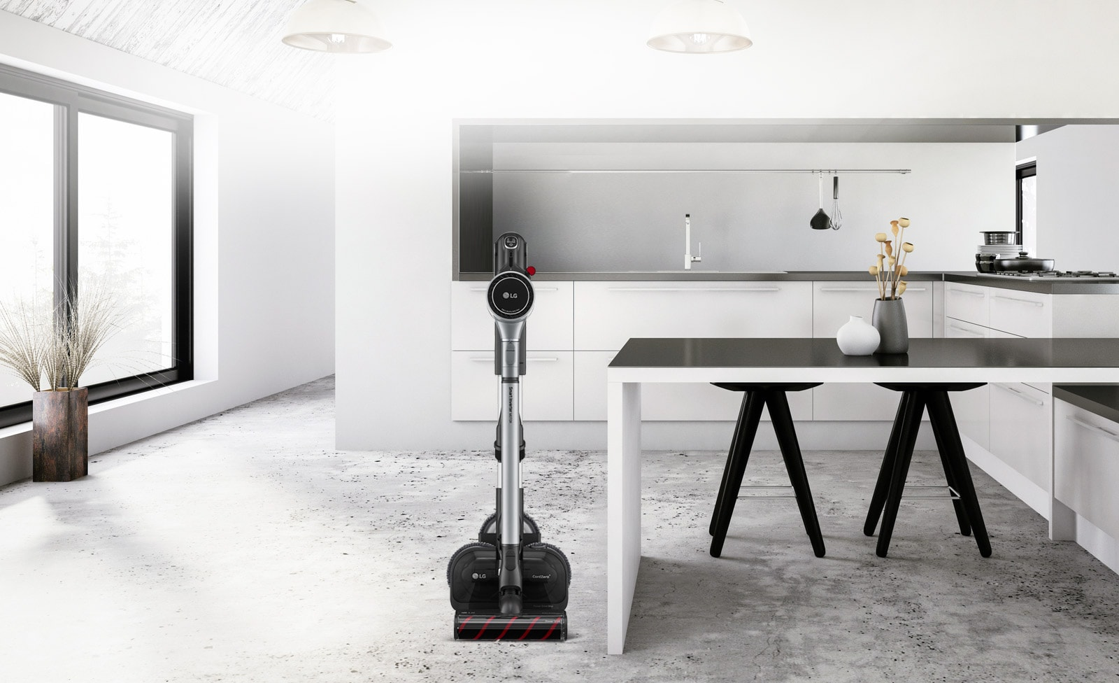 Three images show the vacuum cleaner in the charging stand in various locations:  the first has the charging stand next to a couch, the second it is next to a desk, and the third it is next to a bed.