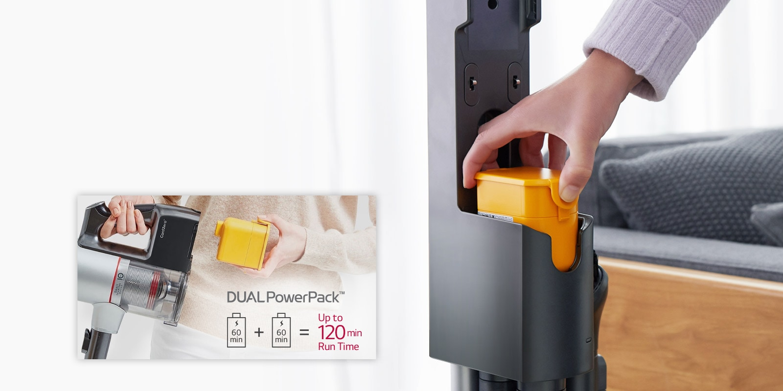 A hand places the battery pack inside the vacuum cleaner. To the left is an icon with two batteries with +60 min on the side and arrows. The batteries move to indicate they can be swapped.