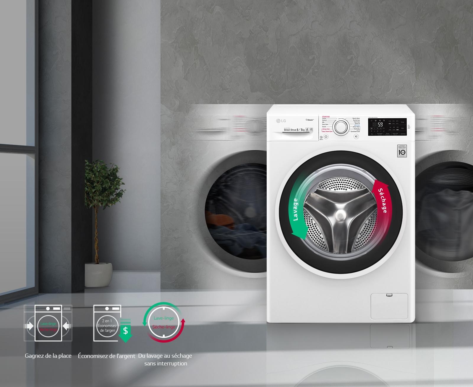 Nettoyer Machine À Laver Le Linge du lavage au séchage sans interruption, pour plus de