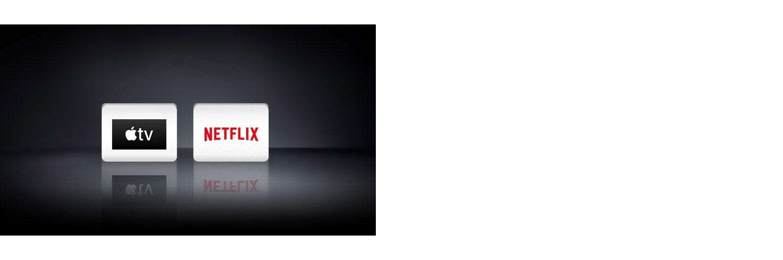 Два логотипа: Приложението Apple TV и Netflix