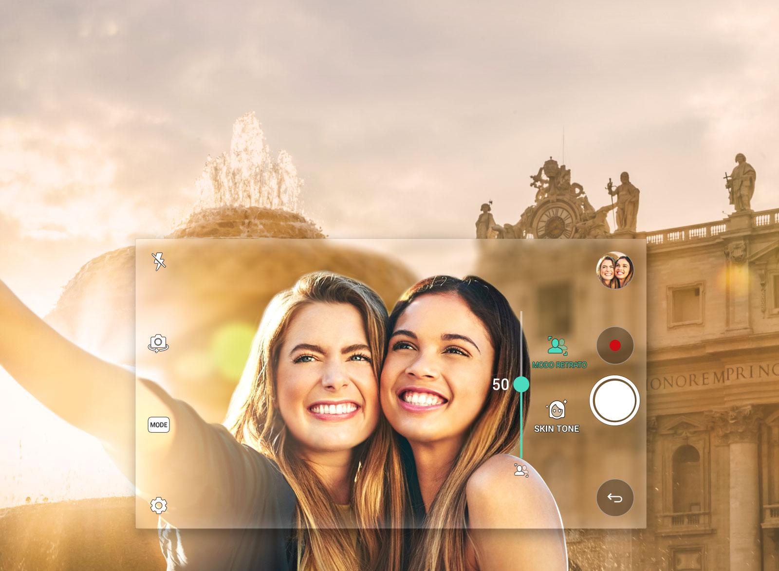 Selfie Grande Angular com Modo Retrato
