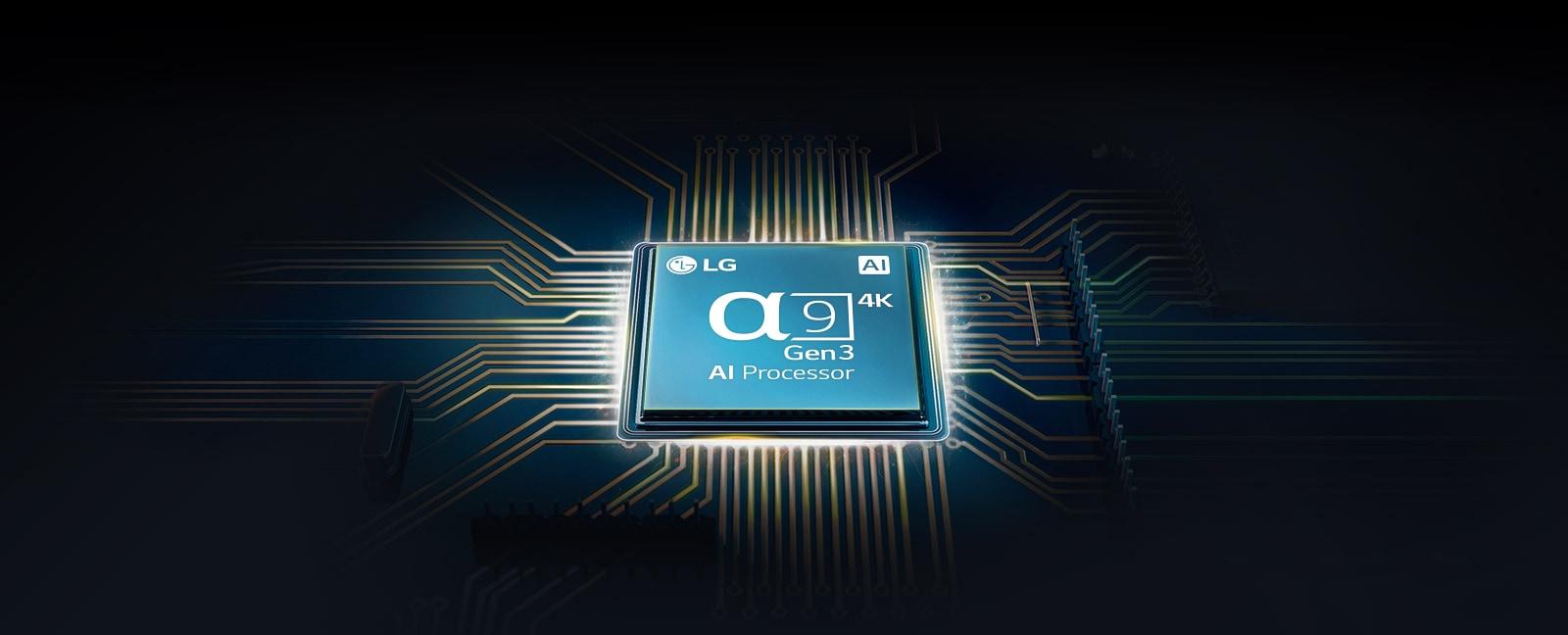 Chip Alfa 9 em uma placa-mãe de TV