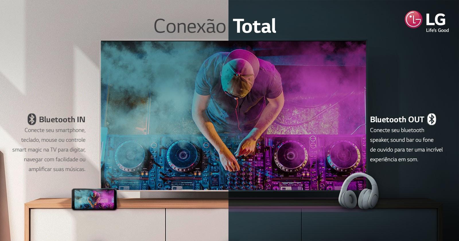 Conecte seu bluetooth speaker, sound bar ou fone de ouvido para ter uma incrível experiência em som.