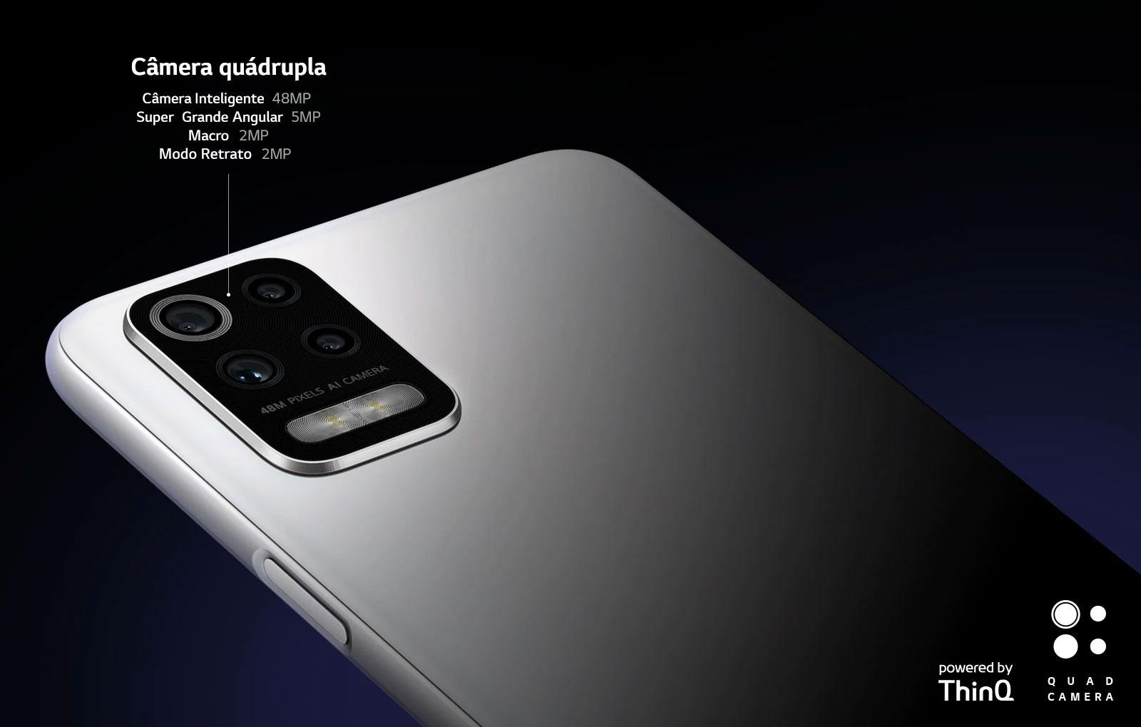 Vista traseira do smartphone mostrando quatro câmeras.