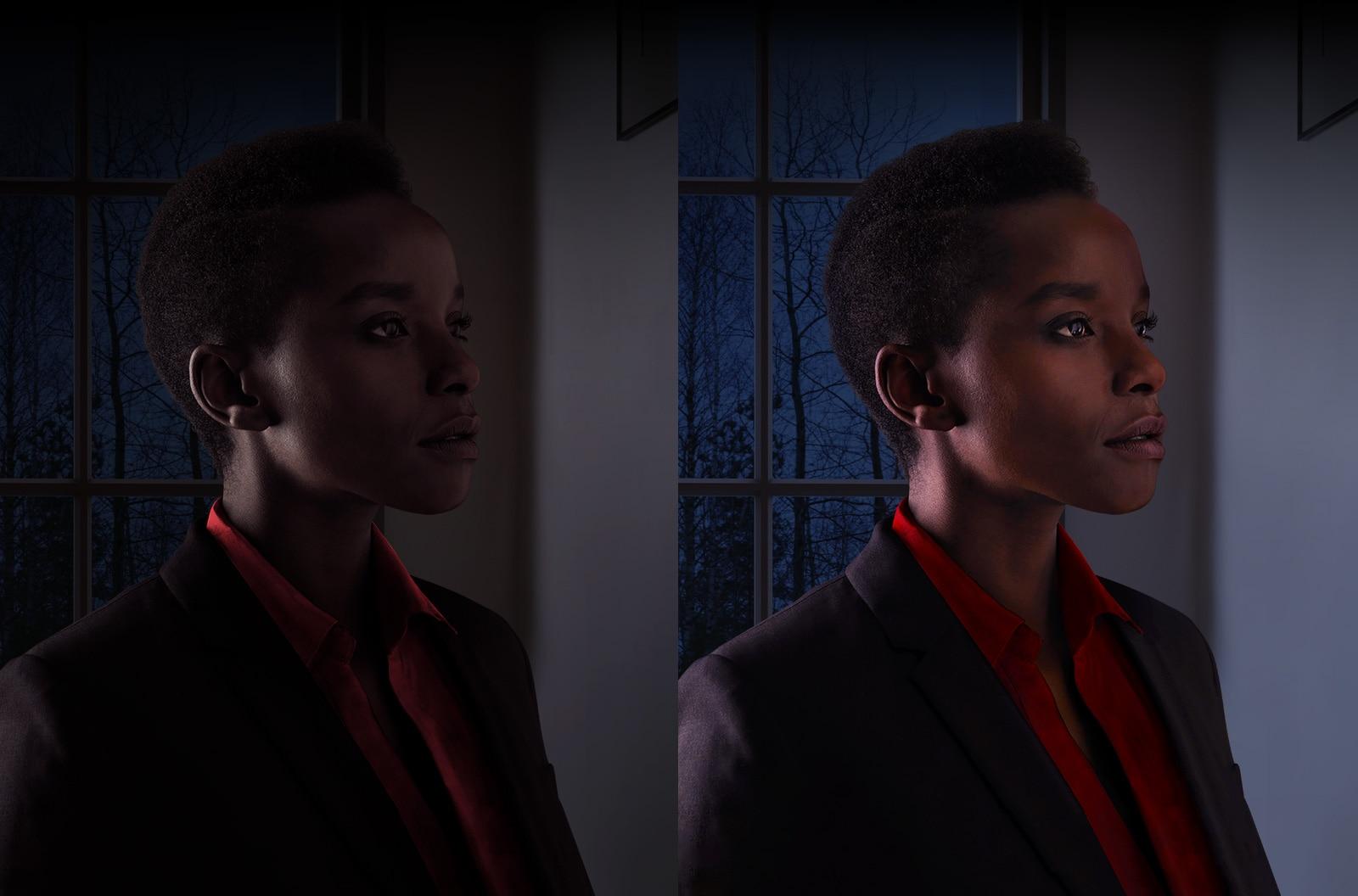 Duas fotos iguais de uma mulher, uma escura, à esquerda, e outra clara, à direita