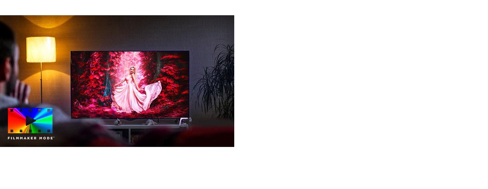 Um homem está sentado em um sofá na sala de estar e assistindo um filme bem colorido na TV