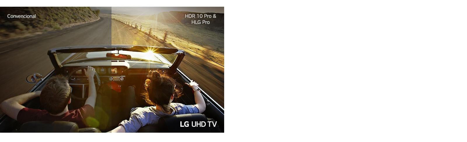 Visão traseira dividida do casal dirigindo o carro. À esquerda, a tela mostra a qualidade de imagem da TV convencional. À direita, a tela mostra a qualidade de imagem da TV LG UHD.