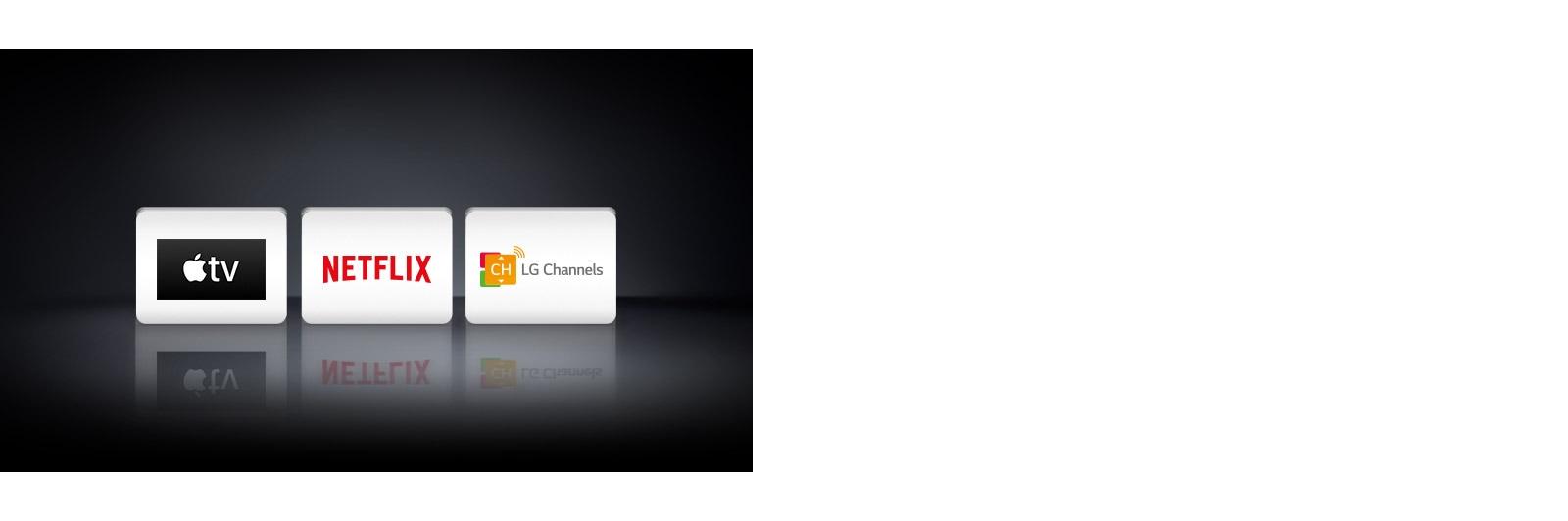 Três logotipos mostrados da esquerda para a direita: Apple TV, Netflix e LG Channels.