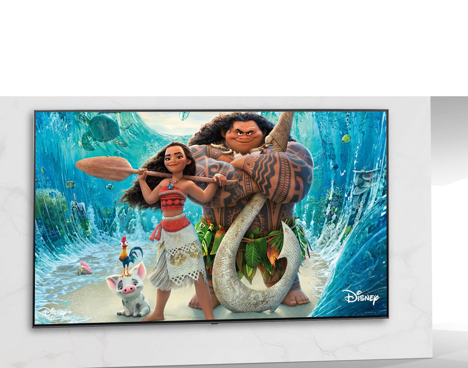 Disney Moana poster image on TV screen