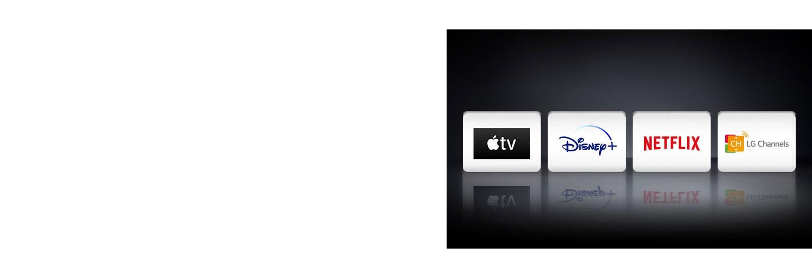 Four logos: The Apple TV app, Disney+, Netflix and LG Channels