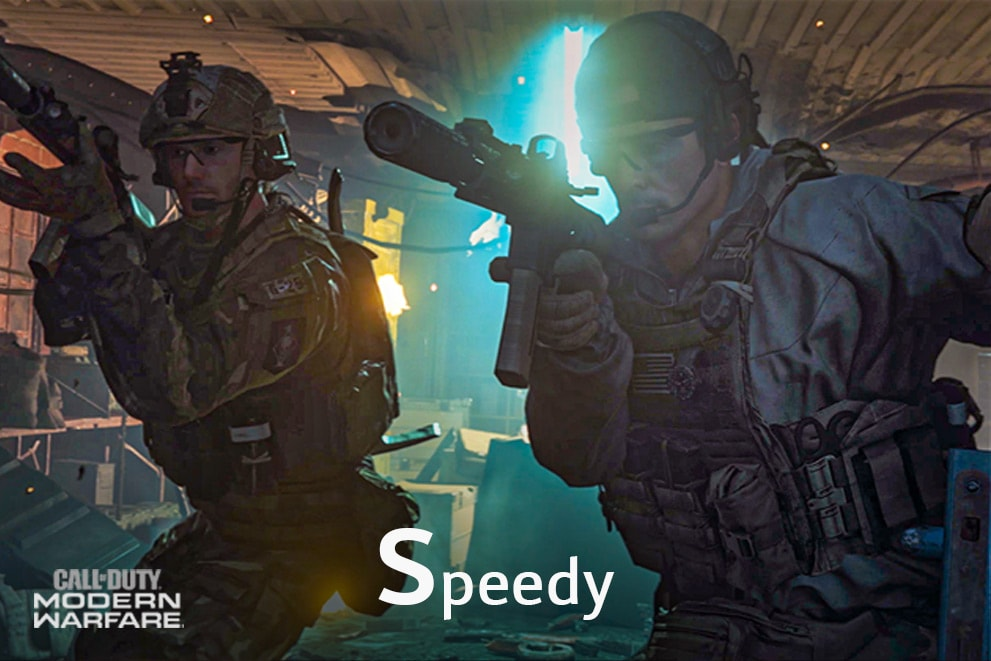 "A gaming scene of the Call of Duty, labeled ""Speedy"""