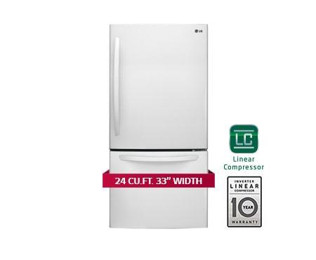 Lg Lfc24786sw 33 Inch 24 Cu Ft Bottom Freezer Drawer