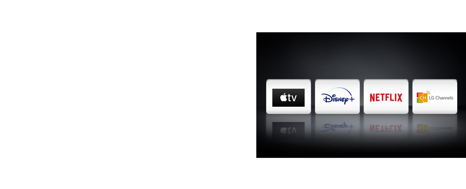 Quatre logos : l'application Apple TV, Disney+, Netflix et LG Channels