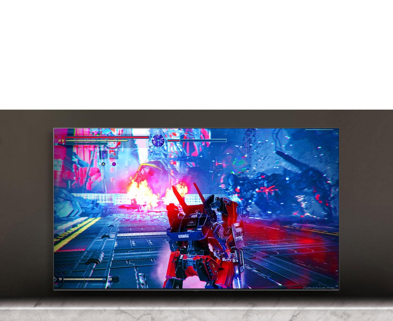 Écran de téléviseur montrant la scène du jeu de bataille.