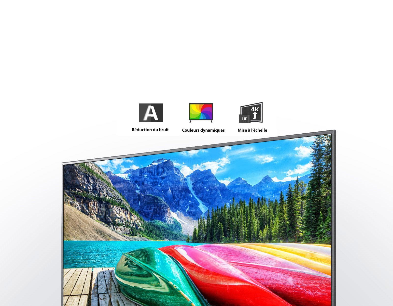 Icônes de réduction du bruit, couleurs dynamiques et optimisation du contenu, et un écran de télévision affichant une vue panoramique des montagnes, de la forêt et d'un lac.
