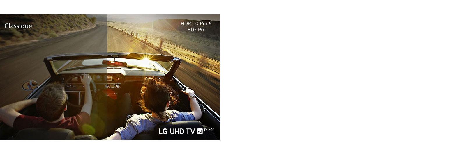 Un couple dans une voiture qui roule sur une route. La moitié est montrée sur un écran traditionnel avec une mauvaise qualité d'image. L'autre moitié est montrée avec sur un téléviseur UHD de LG avec une qualité d'image nette et éclatante.
