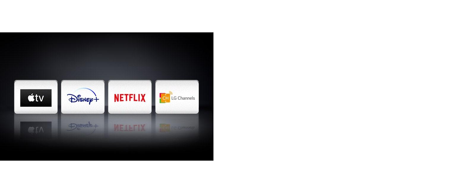 Quatre logos d'applications présentés de gauche à droite: Apple TV, Disney+, Netflix et LGChannels.