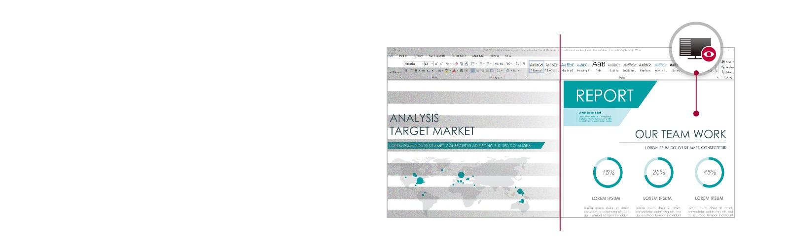 Se muestra un informe de trabajo en el monitor con reducción de destello en comparación con el modo convencional.