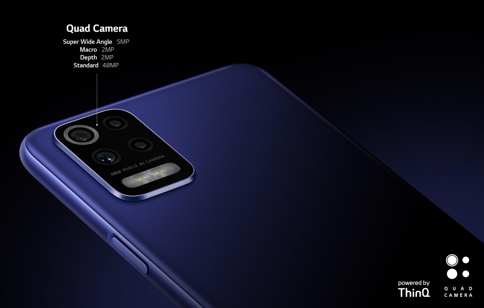 Vista trasera de un smartphone que muestra cuatro cámaras.