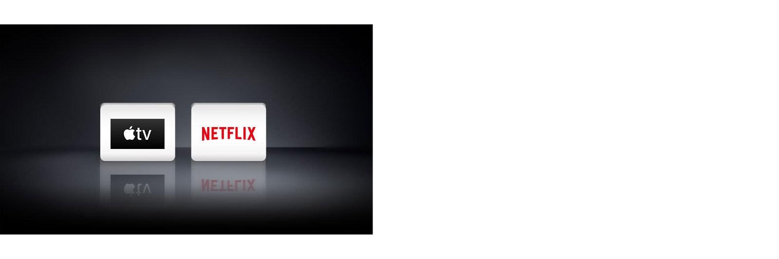 Se muestran cuatro logotipos de aplicaciones de izquierda a derecha: Apple TV y Netflix.