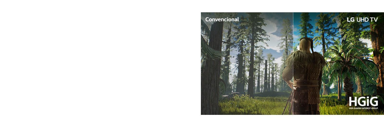 Pantalla de TV que muestra la escena de un juego con un hombre parado en medio de un bosque. La mitad se muestra en una pantalla convencional con baja calidad de imagen. La otra mitad se muestra en la pantalla del TV LG UHD con una calidad de imagen nítida y vívida.