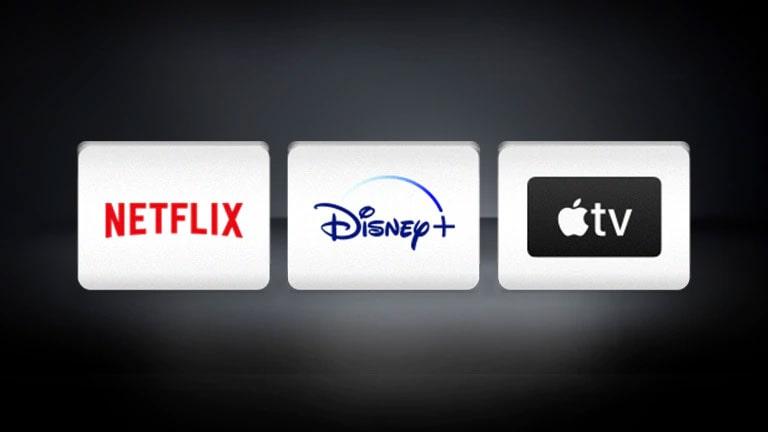 El logotipo de el de Apple TV, el de Disney+ y el de Netflix están ubicados en el fondo negro.