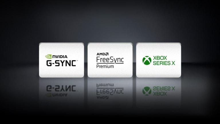 Logotipi NVIDIA G-SYNC, AMD FreeSync in XBOX SERIES X so postavljeni vodoravno na črni podlagi.