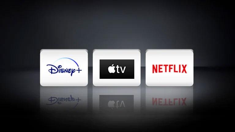 Os logotipos Apple TV, Disney + e Netflix estão localizados no fundo preto.