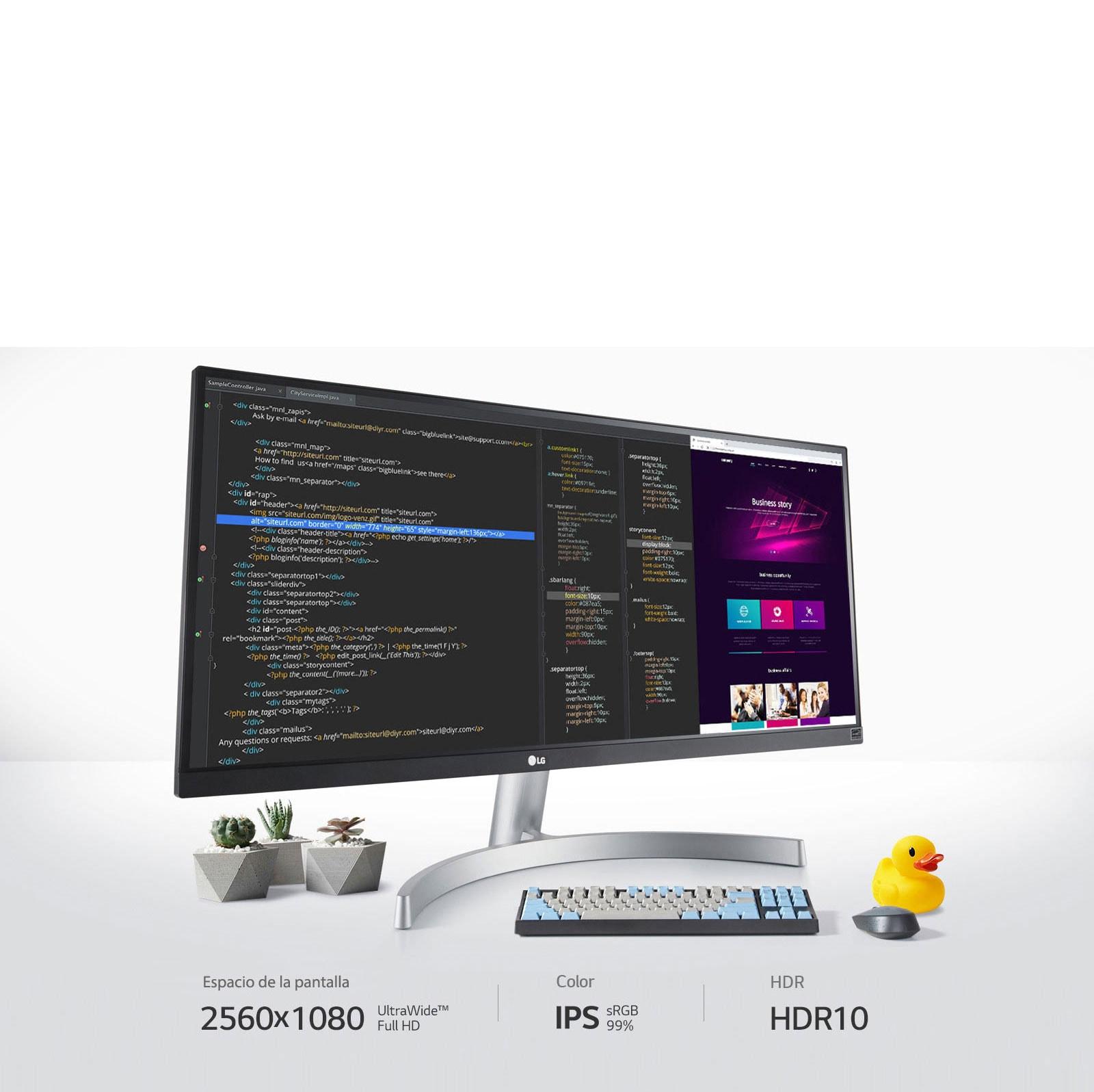 Al proporcionar una pantalla UltraWide™ Full HD de 2560x1080, IPS, sRGB 99% y HDR 10, tú puedes ver mejor, crear mejor.