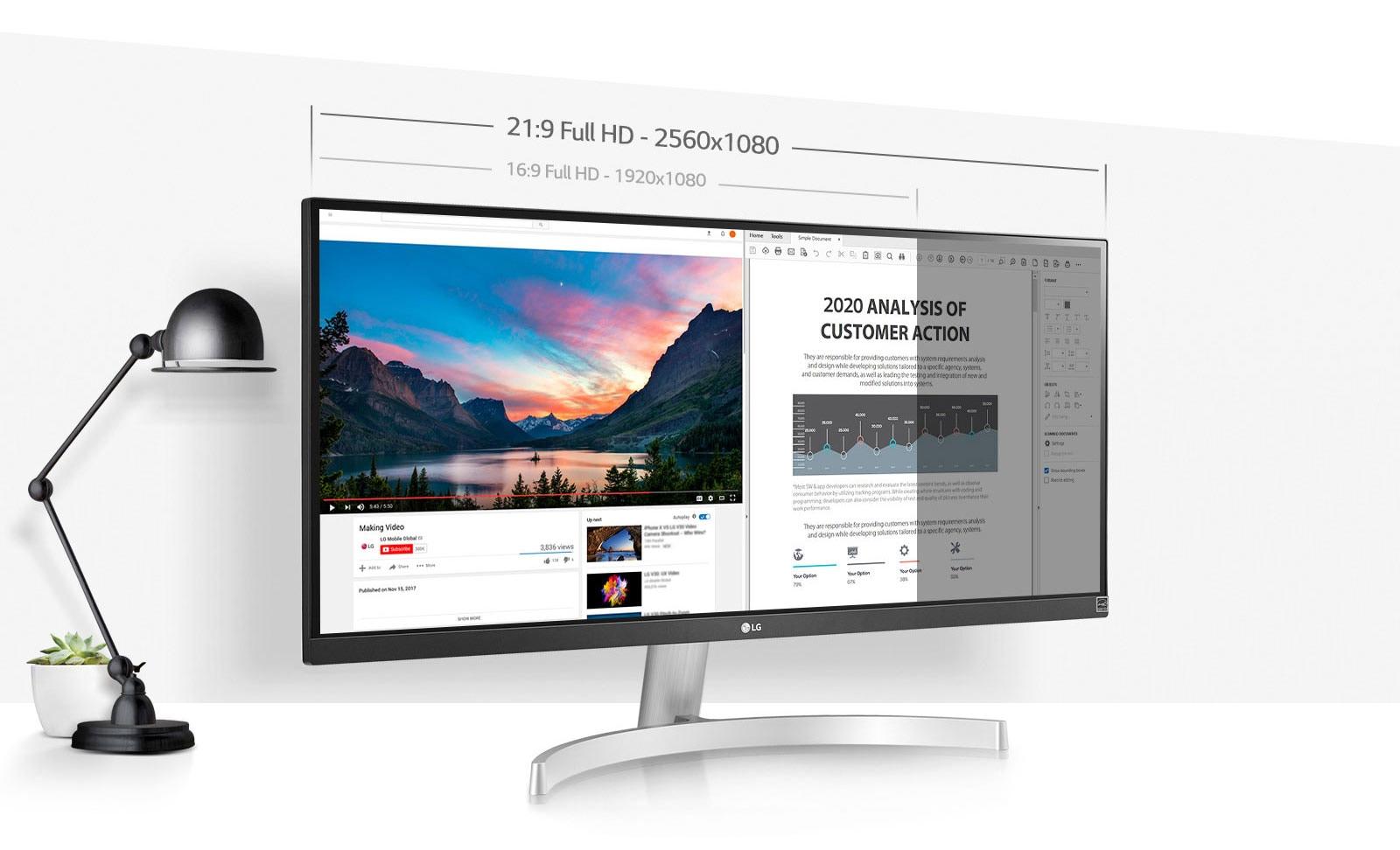 """La pantalla UltraWide™ Full HD de 29"""" (2560x1080) proporciona un 33% más de espacio en pantalla que la resolución 16:9 Full HD."""