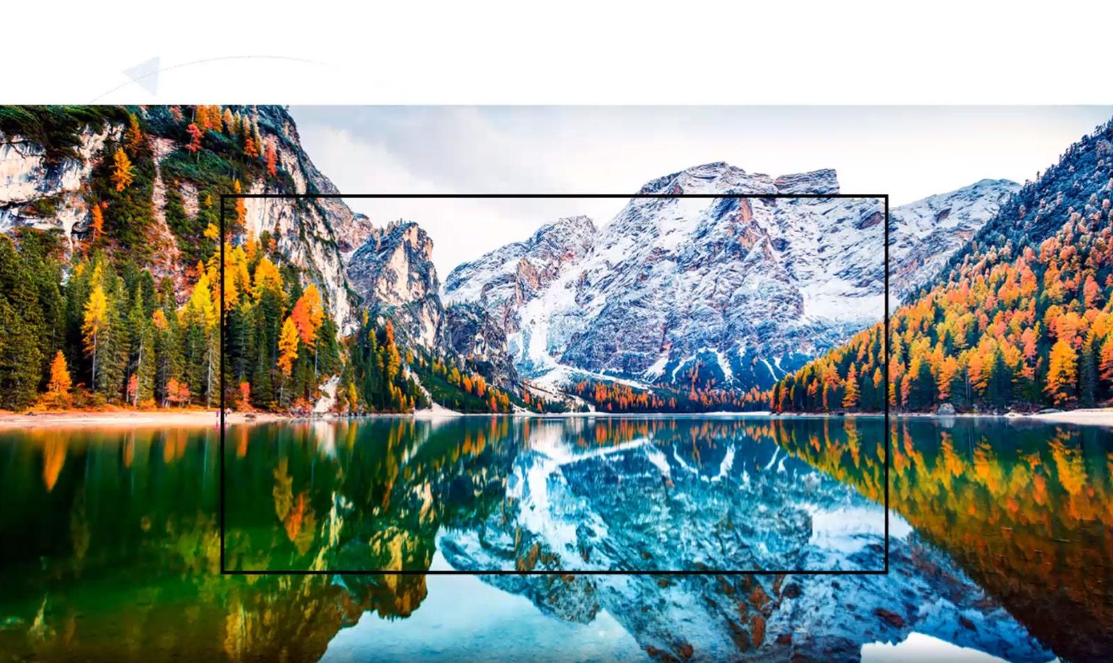 Una pantalla de televisión que capta el escenario de la montaña y el lago se amplía (reproducir el video)